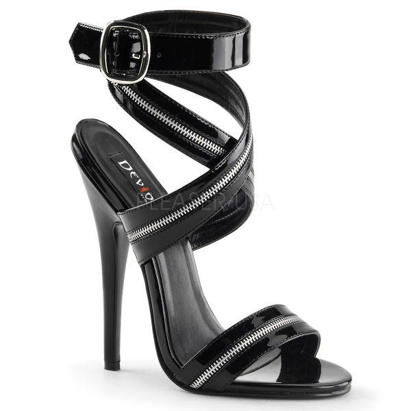 High-Heel Sandalette mit breitem Fesselriemchen in Reißverschluss-Optik DOMINA-119
